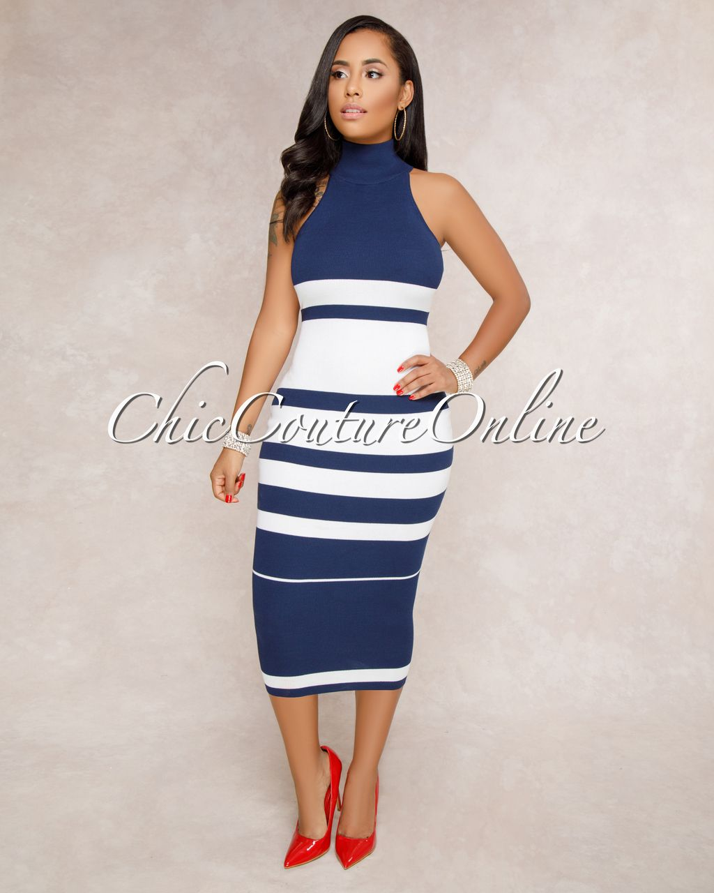 8e7d180137 Image 1 Striped Midi Dress, Peplum Dress, Bodycon Dress, Chic Couture  Online,
