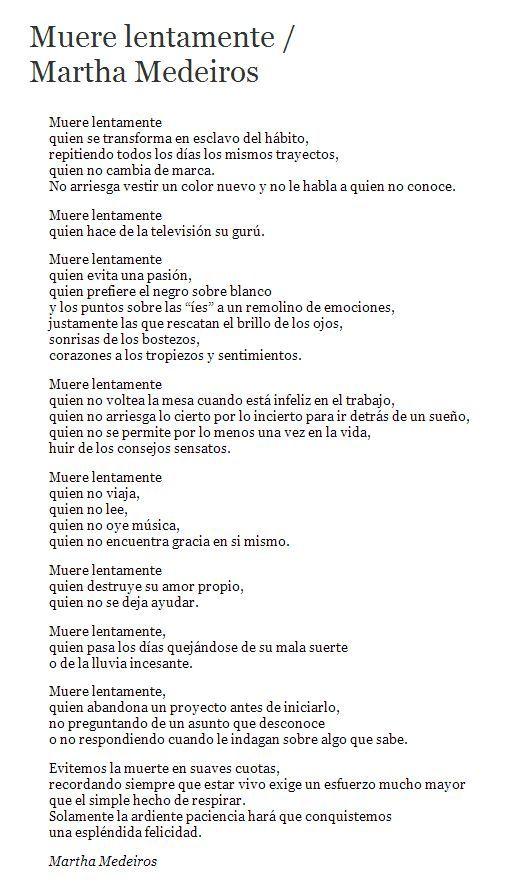 Muere Lentamente Martha Medeiros Muriendo Lento Poemas