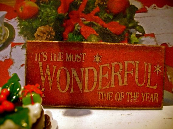Christmas Miniature Wooden Plaque 1:12 scale by LeClosDesLavandes