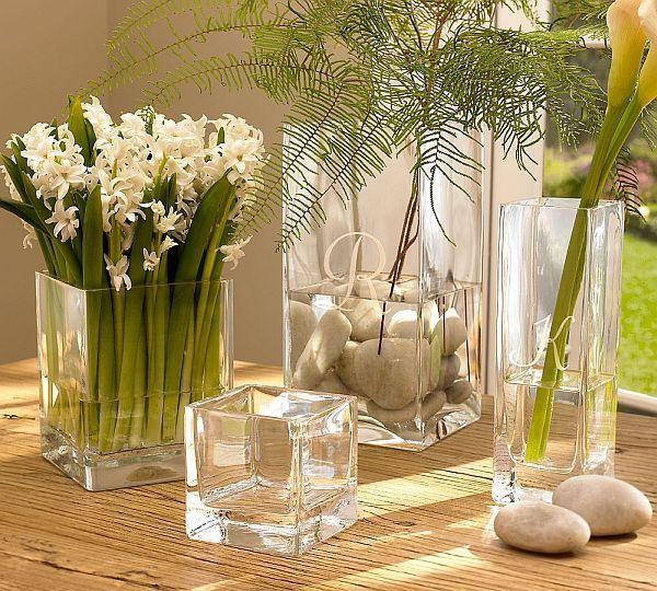 Square Glass Vases Simple Flower Arrangments Pinterest Vase