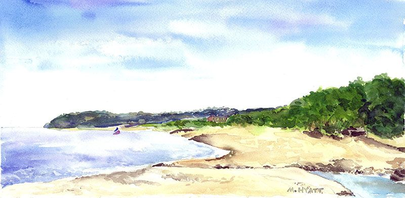 View From Goldsmith S Art Print Watercolor Artwork Sand Water