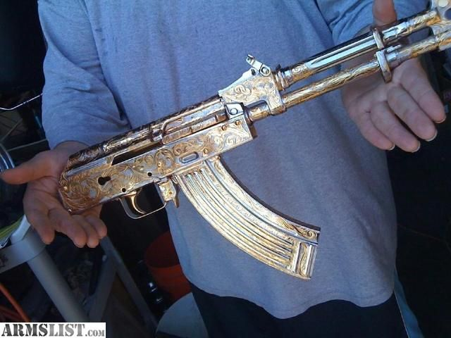 ARMSLIST - For Sale: AK47 24K Gold, two-tone hand engraved