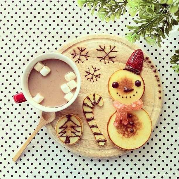 "@Mi-Jeong Song Lee's photo: ""✻Snowman Pancakes✻ Milo✻☕ Everyday is X'mas ⛄"""
