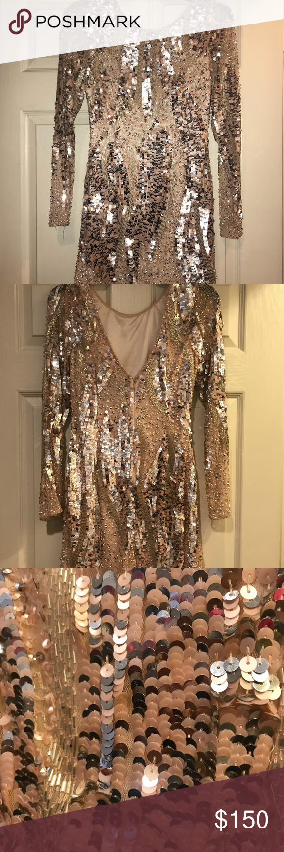 Beaded long sleeve cocktail dress champagne beads and minis