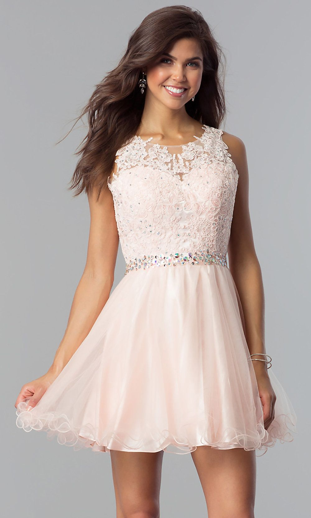 Beaded Fit-and-Flare Short Party Dress - PromGirl