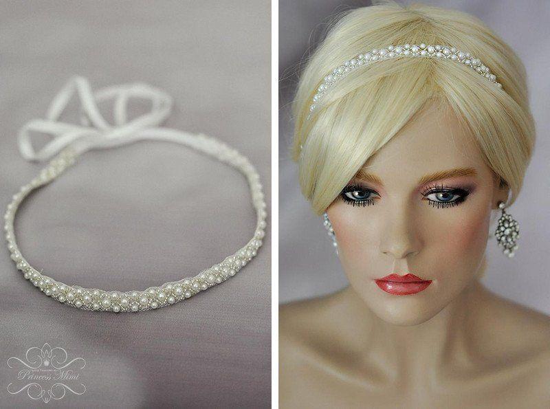 Haarschmuck Kopfputz Braut Perlen Haarband Stirnband Perlenband