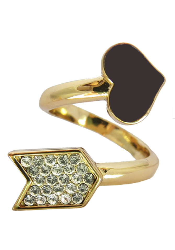 """- 14K yellow gold plated wrap around ring with pave crystal and black enamel- Approx. 1.5"""" ring width- Made in USA"""