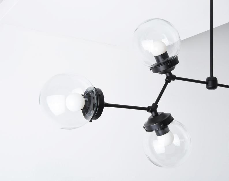 Modern Globe Chandelier - Matte Black - Linear Chandelier ...