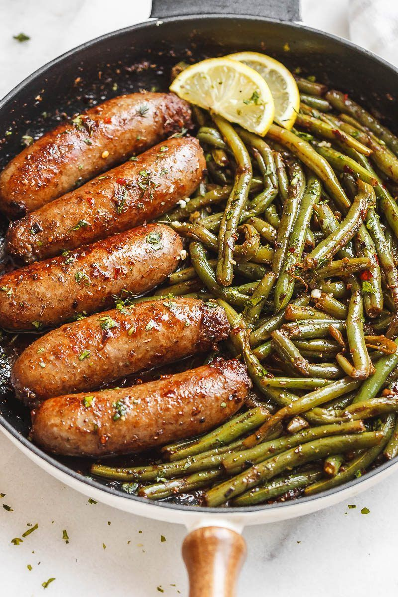 Garlic Butter Sausages with Lemon Green Beans #easysausagerecipes