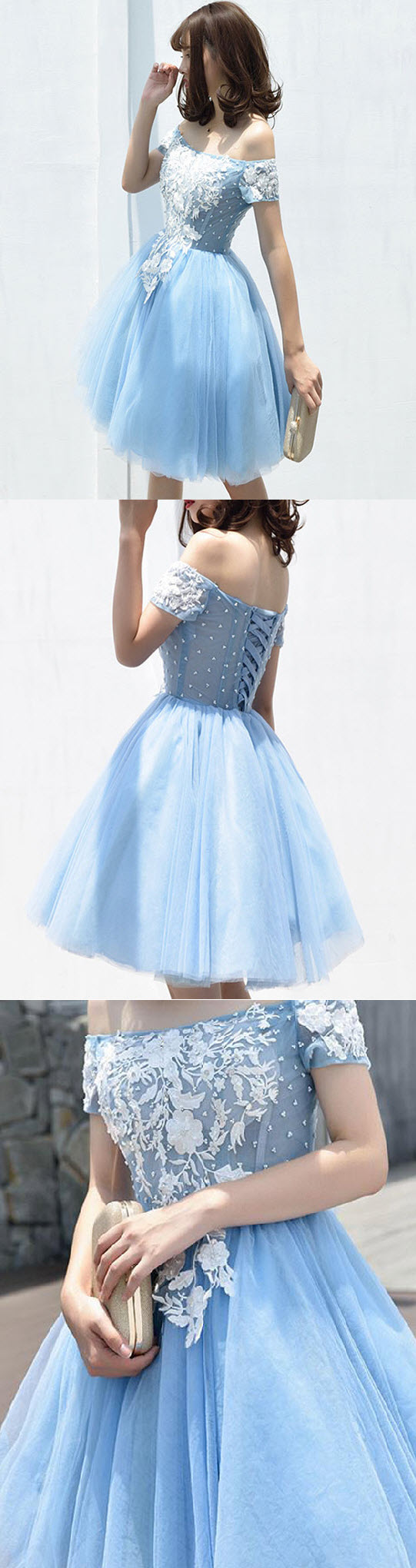 Aline offtheshoulder kneelength short tulle homecoming dress