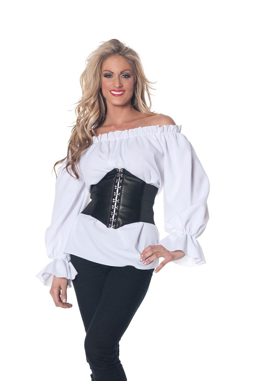 Halloween Renaissance Pirate Black Chemise Top Medieval Peasant Wench Blouse