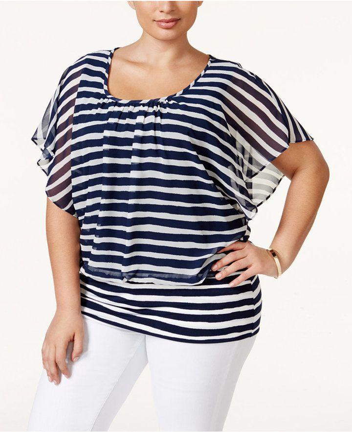 5071d8ff68b0d2 Cute! Plus Size Striped Dolman-Sleeve Top | my plus size life | Plus ...