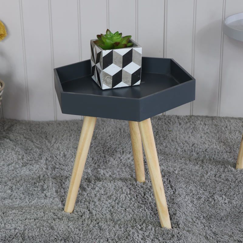hexagon grey side occasional table scandi style living