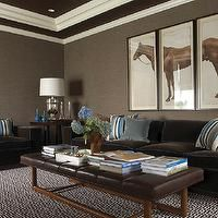 Lewis Interiors Bats Gray Brown Grcloth Wallpaper Tray Ceiling Horse Triptych Art Chocolate Velvet Sofa Chair