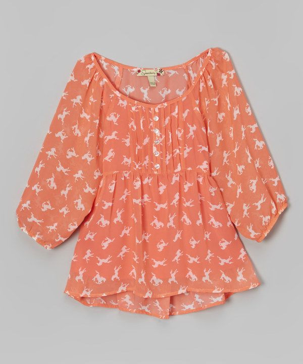 Look at this Coral Horse Chiffon Top on #zulily today!