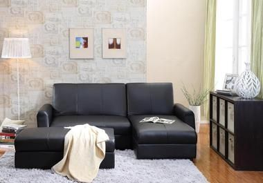 Tufted Sofa Aerie Bi Cast Leather Pieces Black Sectional Sofa Bed with Storage Ottoman