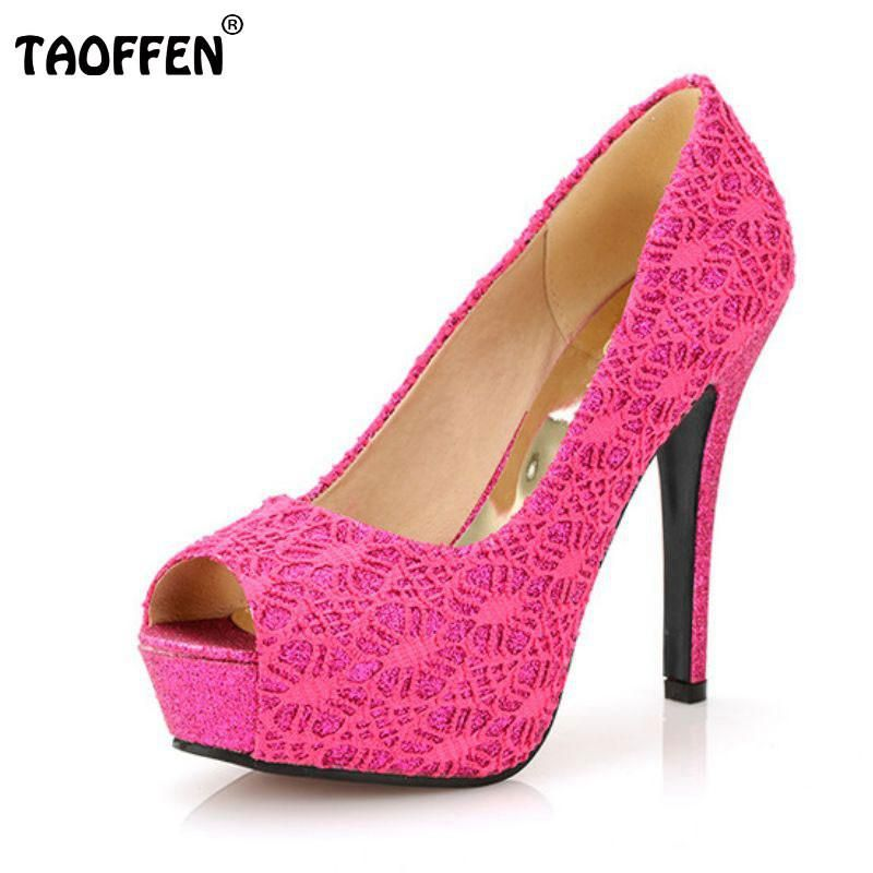 6430d2149426 TAOFFEN free shipping high heel shoes women sexy dress footwear fashion  lady female pumps P13067 hot sale EUR size 32-44