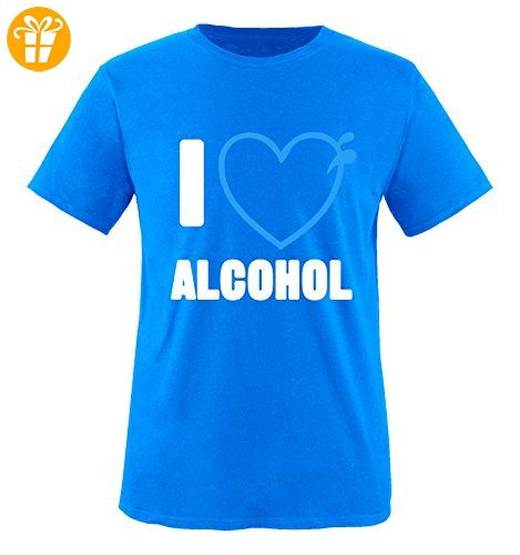 Comedy Shirts - I love alcohol - HERZ - Herren T-Shirt - Royalblau / Weiss-Blau Gr. S - Shirts mit spruch (*Partner-Link)