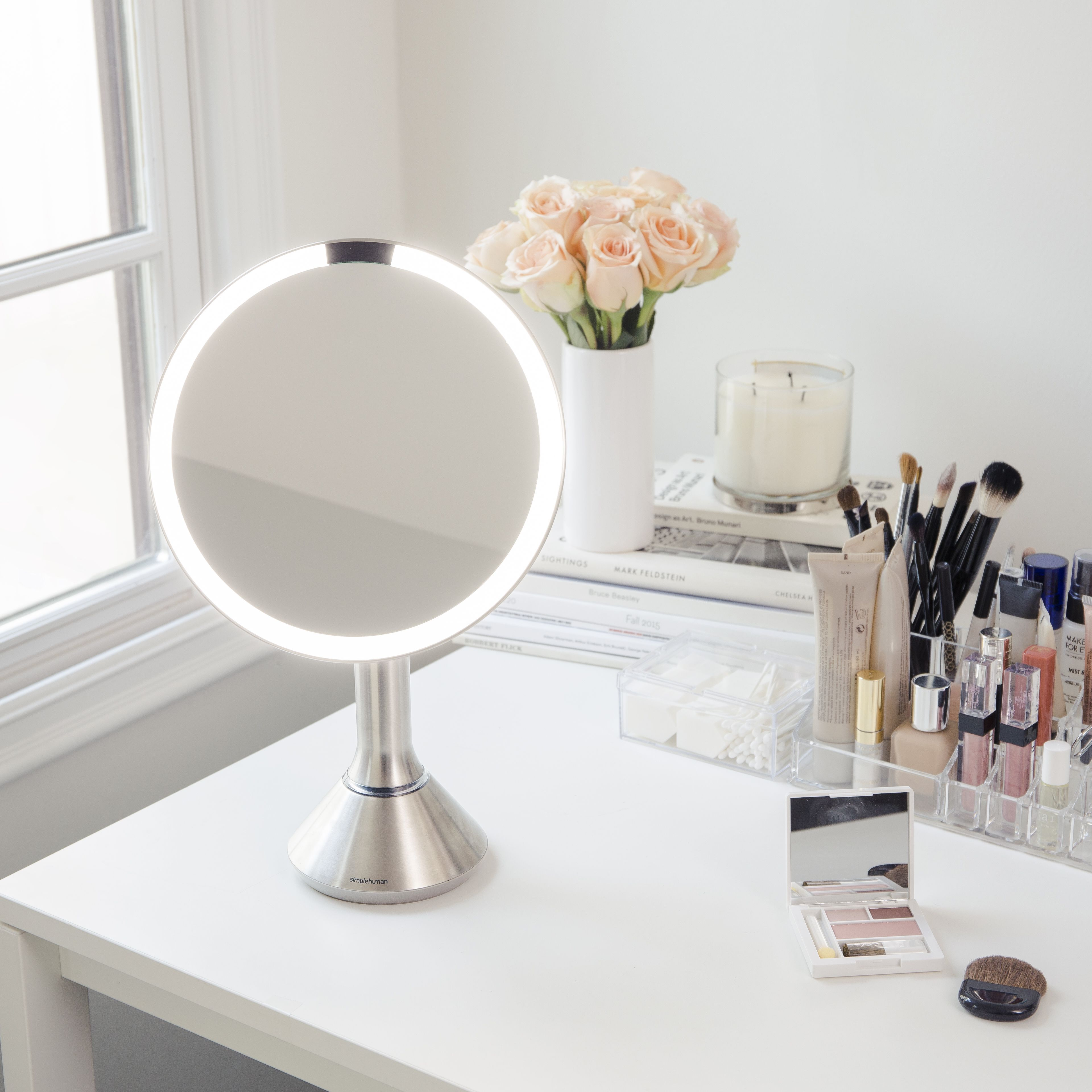Bright vases trays dishes aroma lamps mirrors in beautiful frames - The Perfect Beauty Routine Requires The Best Light The Sensor Mirror S Tru Lux Light System Simulates Natural Sunlight For A Brighter More Color Correct