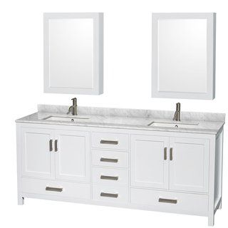 Sheffield White 80 Inch Double Bathroom Vanity With Optional