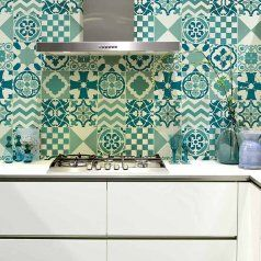 6Patchworktilesstencilsstenciledkitchenbacksplashportugese Pleasing Kitchen Stencil Designs Inspiration