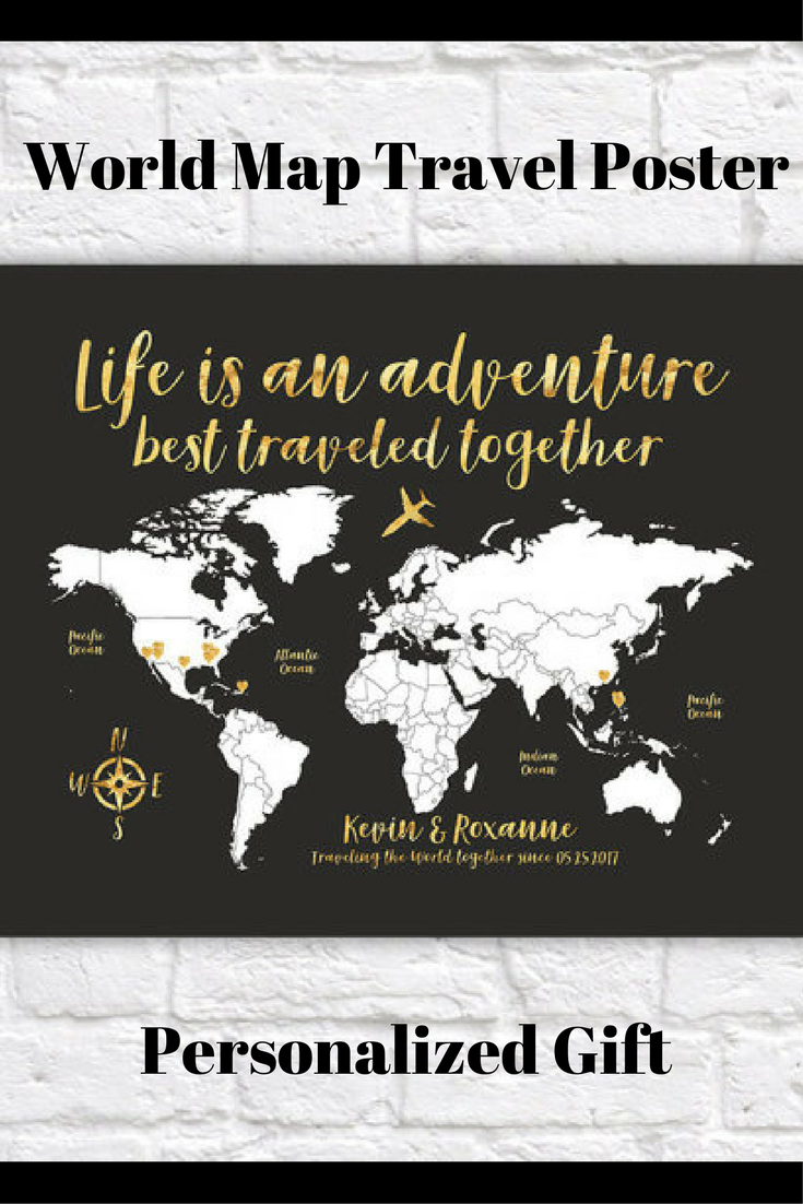 World map travel poster gold travel map travel quote life is an world map travel poster gold travel map travel quote life is an adventure gumiabroncs Choice Image