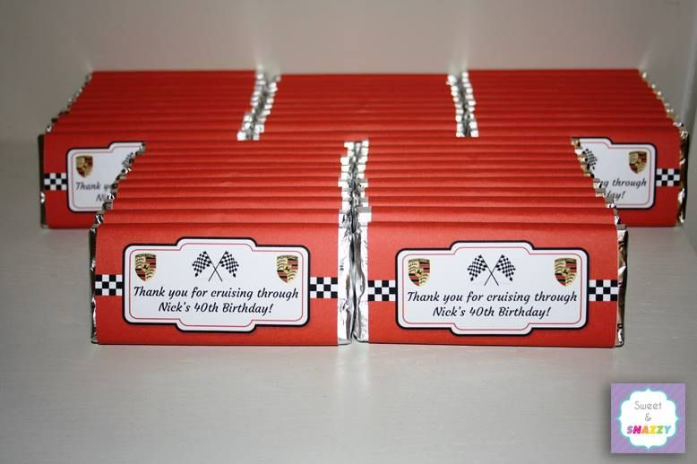 Chocolate Bar Wrappers Porsche Theme 40th Birthday Make Your