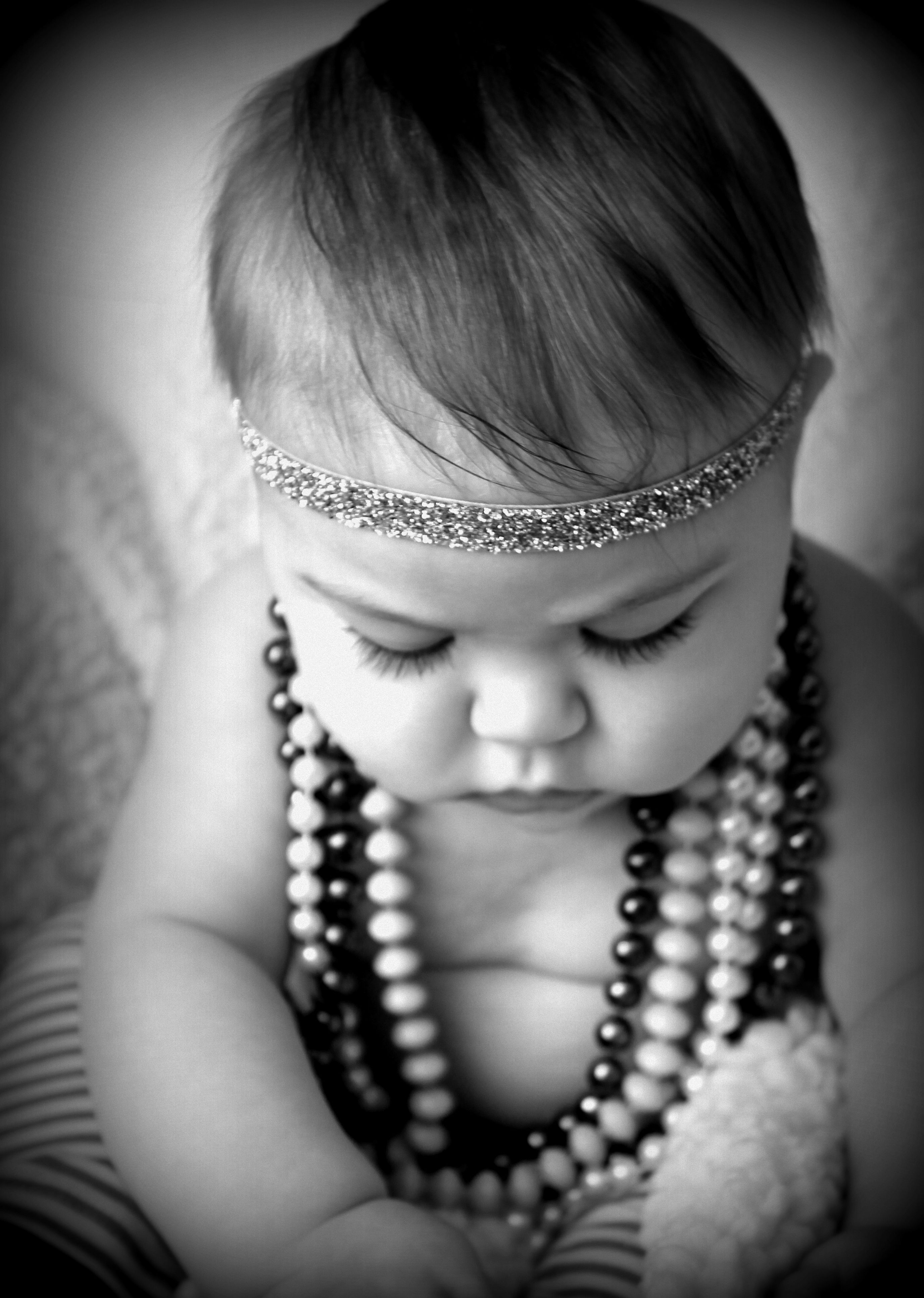 Retro Glam Baby Girl Cutie Adorable Photography Ideas Pretty Chunky Mom N Bab Blouse Layla White Size 3t Babies 5 Months Old Cute Princess Pictures Black And Necklace Headband Sparkle