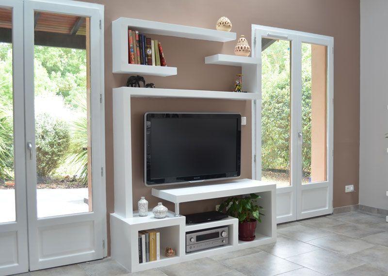 Comment-fabriquer-meuble-TV-moderne Living room design Pinterest - fabriquer meuble en placo