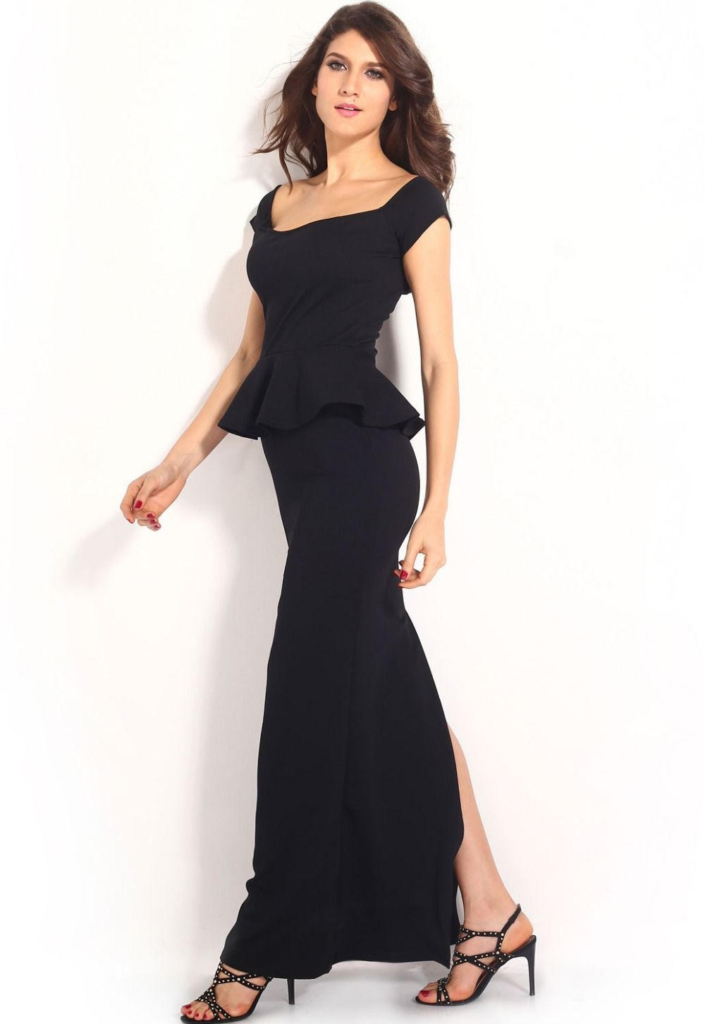 Sexy black peplum maxi dress sexy maxis and evening dresses sexy black peplum maxi dress ombrellifo Images