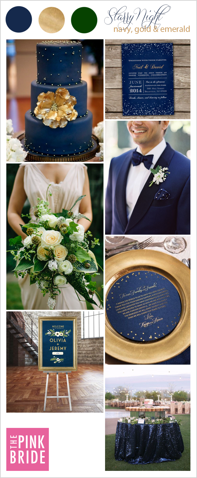 Wedding Color Board Starry Night Navy Gold Amp Emerald