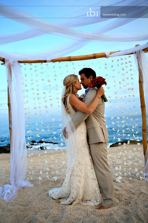 small beach wedding ceremony ideas%0A Wedding ceremony backdrop  bamboo arch chuppah with orchid flower garland  and white fabric swaths  So romantic