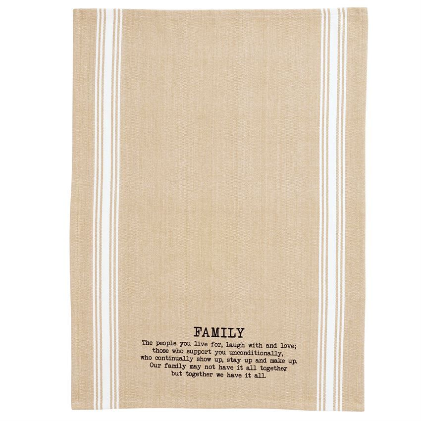 """Natural Grainsack Towel Features Printed """"FAMILY"""
