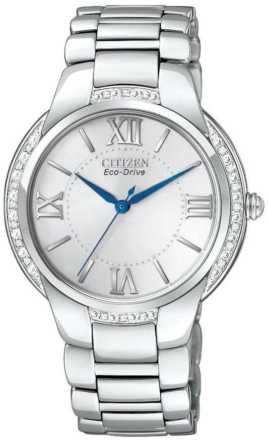 Analog diamond and stainless steel watch is equipped with a white face 10ad0941bd