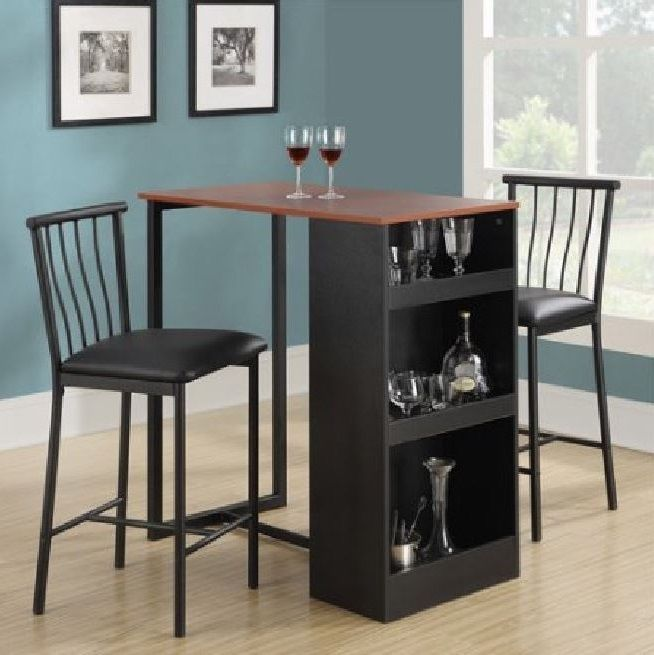 Pub Table Set Bar 3 Pcs Stools Height Chairs Dining Kitchen Storage Espresso #PubTableSet & Details about Pub Table Set Bar 3 Pcs Stools Height Chairs Dining ...