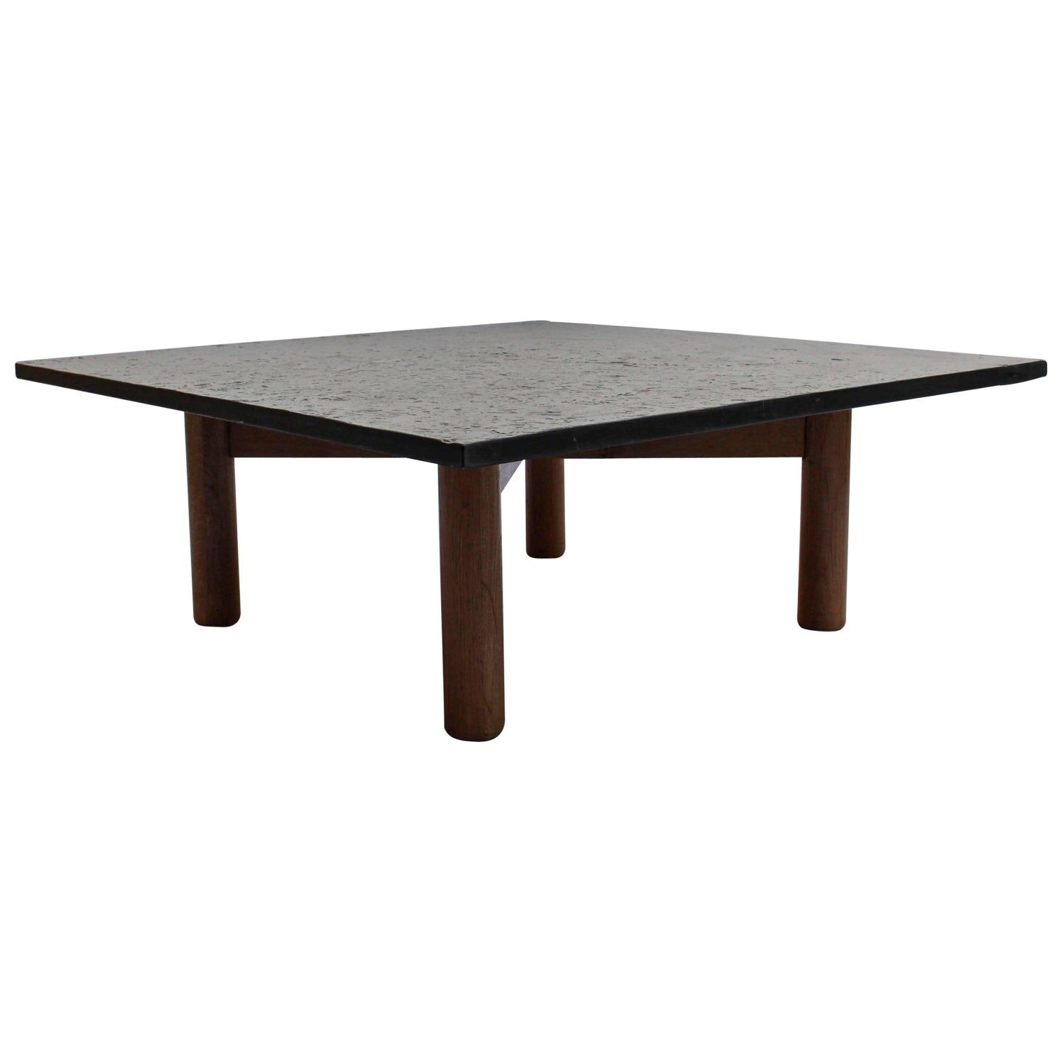 A fine french 1950s slate and oak coffee table in 2020