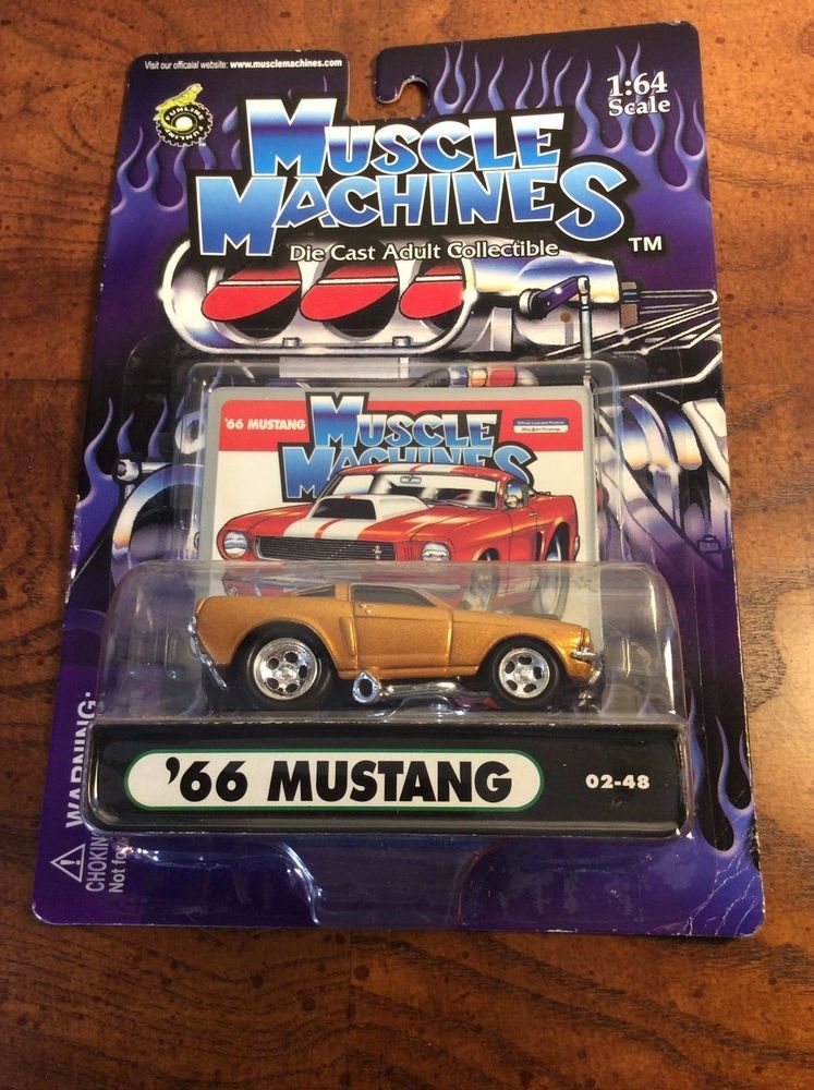 Muscle Machines \'66 Ford Mustang GT-350 Die-Cast Gold Car 1:64 Scale ...