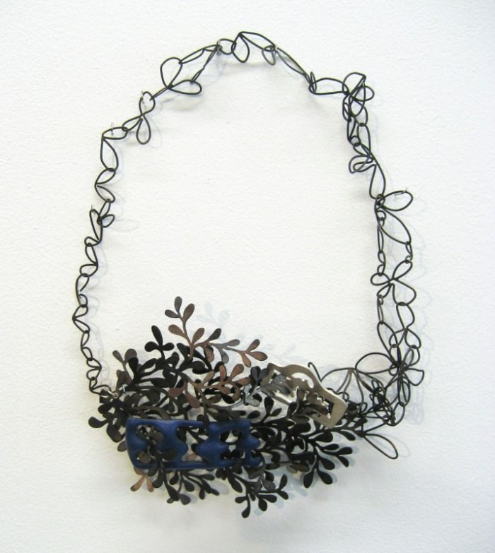 "lauren elizabeth wethers, ""grace"" neckpiece 8x13cm ( silver, oxidised base metal and blue enamel)"