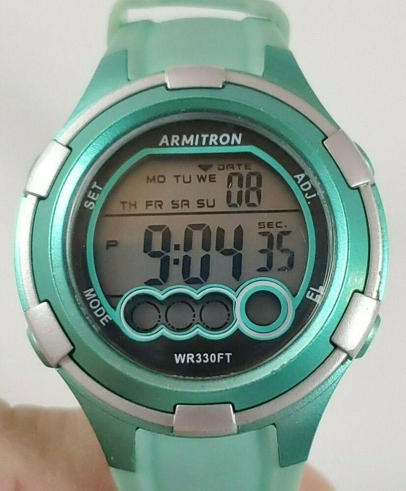 Details about Armitron Pro Sport Light Green Women's Alarm