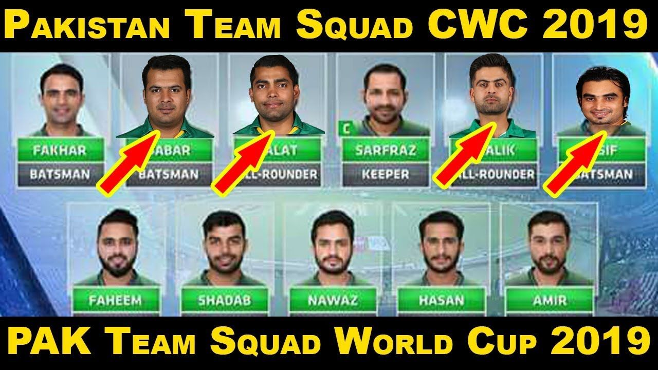 Pcb Announce 25 Players List For World Cup 2019 Pakistan Team Squad Fo World Cup Youtube Squad