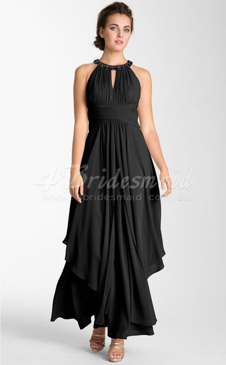Black satin chiffon jewel neck ankle length plus size bridesmaid black satin chiffon jewel neck ankle length plus size bridesmaid dresses psd029 ombrellifo Image collections