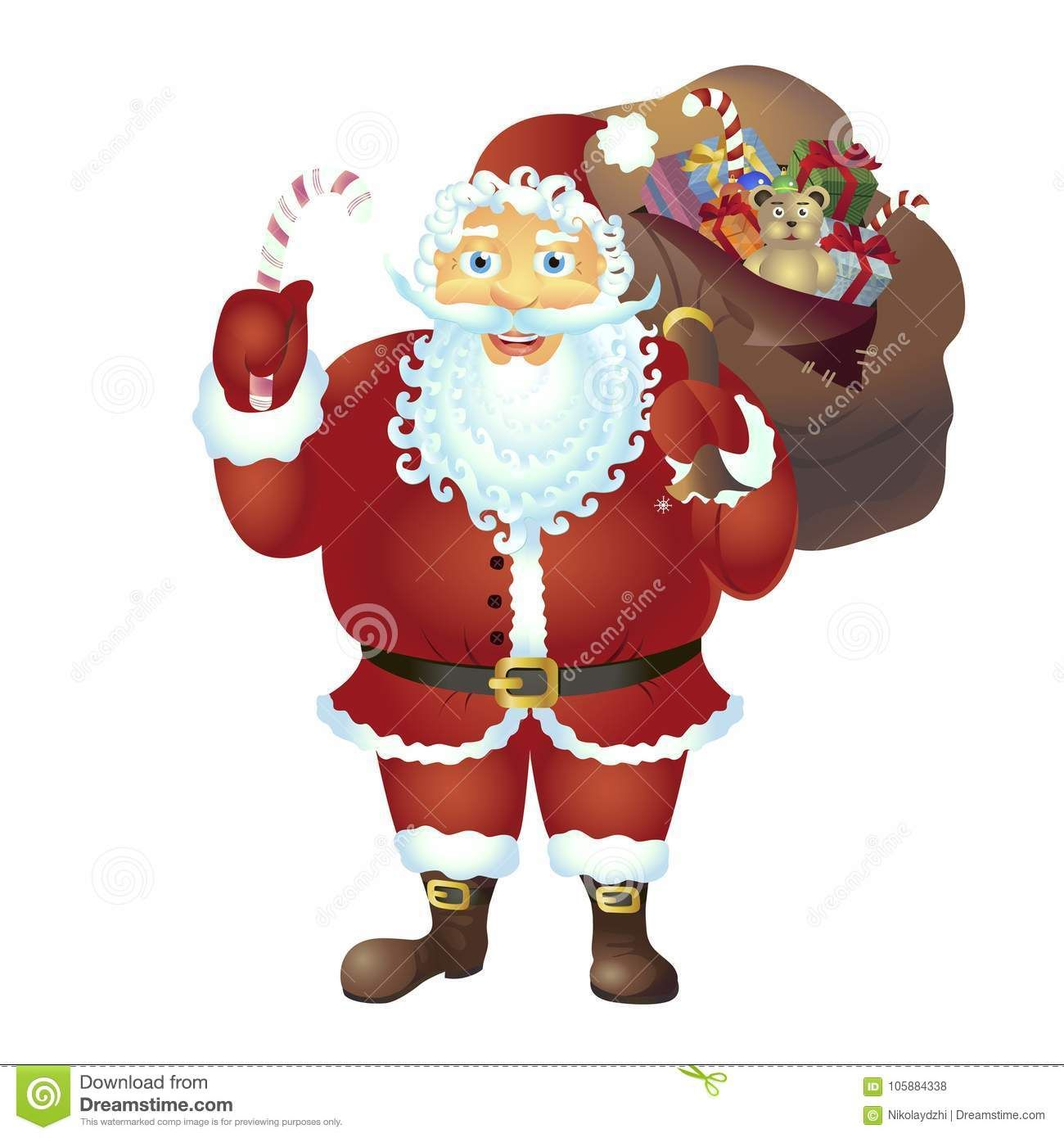 Santa Claus Holding A Candy Cane Isolated On White