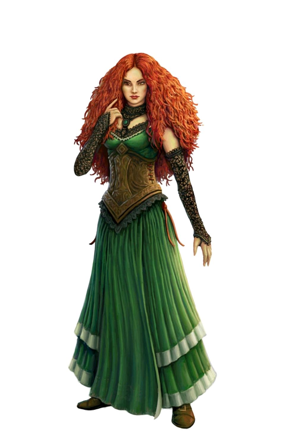 Female Human Redhead Sorcerer - Pathfinder Pfrpg Dnd Dd -1617