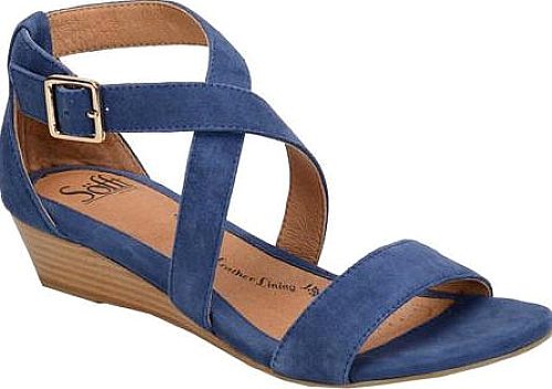 3fdc0260249b Sofft Women s Shoes in Denim King Suede Color. Innis is a simple and  refined low-profile wedge sandal. Leather-lined footbed cushioned at ball  and heel for ...