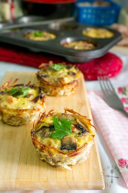 Bacon, Mushroom and Onion Potato-Crusted Mini Quiche {Via @foodiebaker}