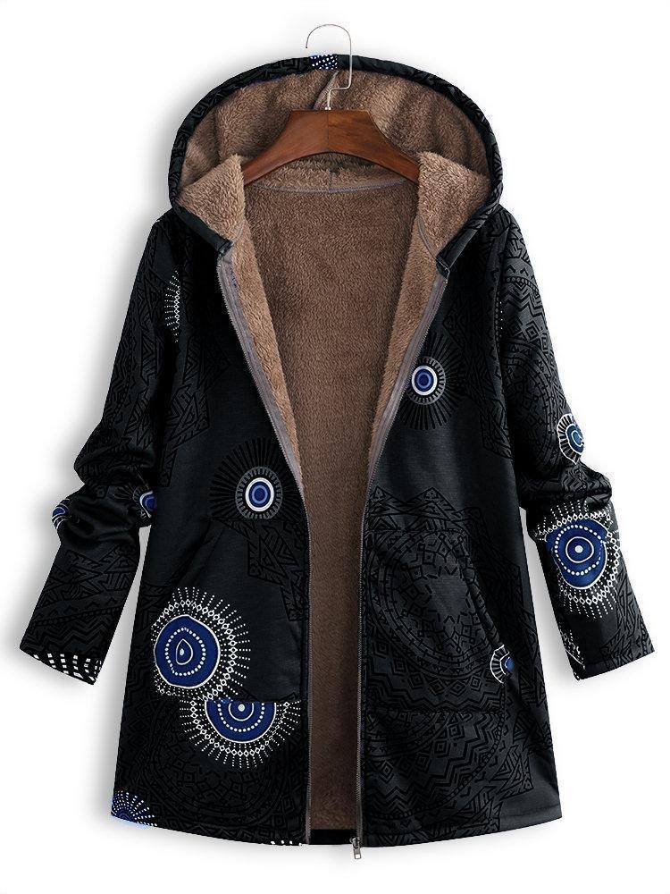 Photo of Ethnic Print Fleece Zipper Hooded Autumn Winter Coat