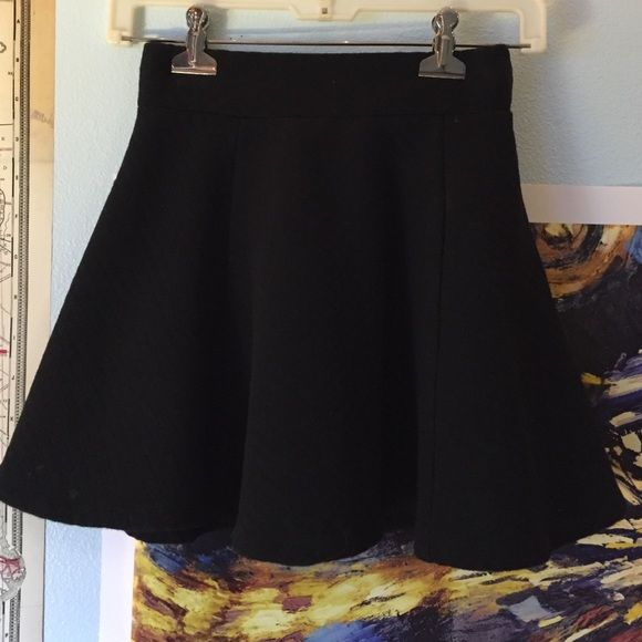 Divided Black Quilt Skater Skirt Almost brand new skater skirt from H&M (by Divided). Zips in the back. Has some lint, but can be washed/lint rolled off. Divided Skirts Circle & Skater