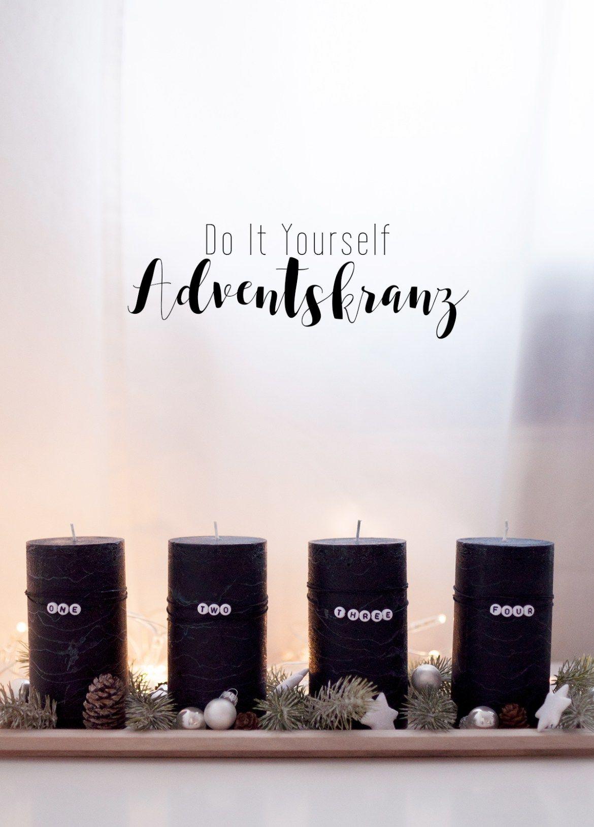 Diy Moderner Adventskranz Mit Schwarzen Kerzen Und