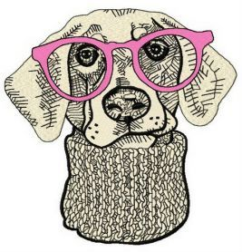 Hipster dog 3 machine embroidery design. Machine embroidery design. www.embroideres.com