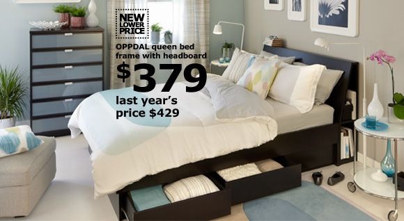 Oppdal Queen Bed Frame With Headboard Ikea Love The Storage